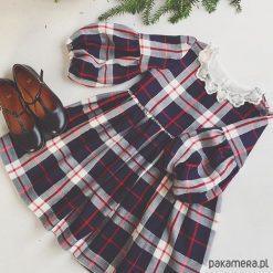 Sukienka Vasilisa krata. Szare sukienki dziewczęce z falbanami Pakamera, z bawełny. Za 249,00 zł.