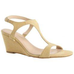 Rzymianki damskie: Skórzane sandały w kolorze piaskowym