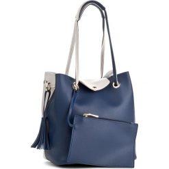 Torebka MONNARI - BAGA610-013 Navy. Szare torebki klasyczne damskie marki Monnari, w paski, z materiału, duże. W wyprzedaży za 129,00 zł.