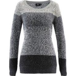 Sweter bonprix antracytowy melanż w paski. Szare swetry klasyczne damskie bonprix. Za 74,99 zł.