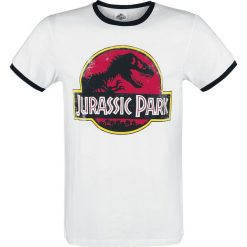 Jurassic Park Vintage Logo T-Shirt biały/czarny. Białe t-shirty męskie z nadrukiem Jurassic Park, m, z okrągłym kołnierzem. Za 79,90 zł.