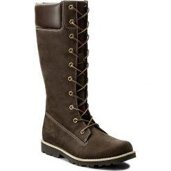 Kozaki TIMBERLAND - Asphltrl Cls Tall 83982  Dark Brown. Brązowe buty zimowe damskie marki Timberland, z gumy, przed kolano, na wysokim obcasie. W wyprzedaży za 409,00 zł.