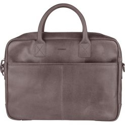 Torby na laptopa: Skórzana torebka w kolorze szarym na laptop – 40 x 29 x 5 cm