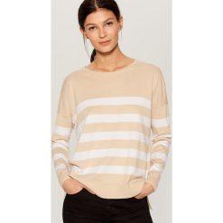 Sweter w paski - Beżowy. Szare swetry klasyczne damskie marki FOUGANZA, z bawełny. Za 59,99 zł.
