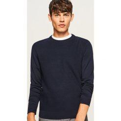 Sweter - Granatowy. Szare swetry klasyczne męskie marki Reserved, l, w paski, z klasycznym kołnierzykiem. Za 119,99 zł.