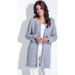 Swetry damskie: Szary Elegancki Ażurowy Kardigan bez Zapięcia