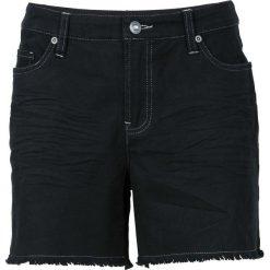 Krótkie spodenki twillowe z postrzępionymi nogawkami bonprix czarny. Czarne bermudy damskie bonprix. Za 59,99 zł.