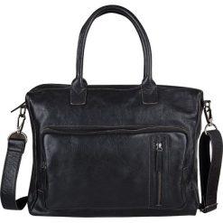 """Skórzana torba biznesowa """"Medford"""" w kolorze czarnym - 40 x 33 x 10 cm. Czarne torby na ramię męskie marki Cowboys Bags & Belts, w paski, ze skóry, na ramię. W wyprzedaży za 513,95 zł."""