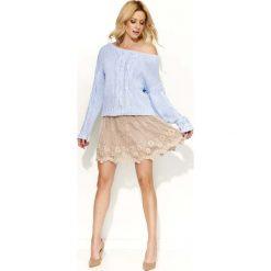 Swetry damskie: Błękitny Sweter Melanżowy z Warkoczami