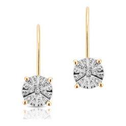 Wspaniałe Złote Kolczyki - złoto żółte 333, Diament 0,16ct. Żółte kolczyki damskie W.KRUK, z diamentem, złote. Za 1690,00 zł.