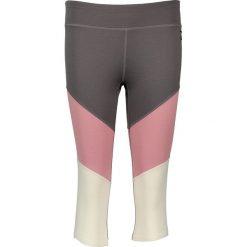 Legginsy sportowe damskie: Sportowe legginsy w kolorze szaro-jasnoróżowo-białym