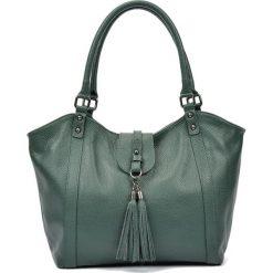 Torebki i plecaki damskie: Skórzana torebka w kolorze zielonym – (S)30 x (W)45 x (G)12 cm