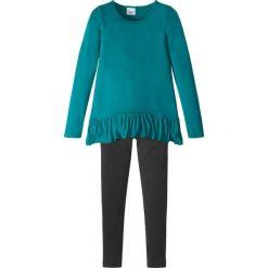 Spodnie dziewczęce: Shirt + legginsy (2 części) bonprix turkusowo-kobaltowy – czarny