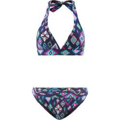 Bikini z trójkątnymi miseczkami (2 części) bonprix niebiesko-turkusowo-różowy wzorzysty. Niebieskie bikini marki bonprix, z haftami. Za 37,99 zł.