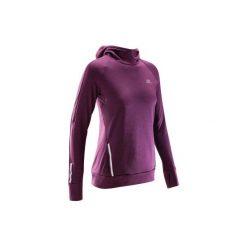 Bluza do biegania RUN WARM HOOD damska. Fioletowe długie bluzy damskie marki KALENJI, z elastanu. Za 69,99 zł.