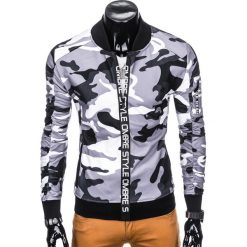 BLUZA MĘSKA ROZPINANA BEZ KAPTURA B739 - SZARA/MORO. Szare bluzy męskie rozpinane marki Ombre Clothing, m, moro, z bawełny, bez kaptura. Za 69,00 zł.