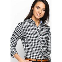 Czarna Koszula Fine Check. Zielone koszule damskie w kratkę marki Mohito, l, z wykładanym kołnierzem. Za 79,99 zł.