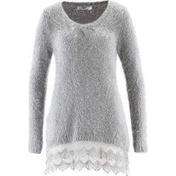 Długi sweter z koronką, długi rękaw bonprix matowy srebrny. Szare swetry klasyczne damskie bonprix, z koronki. Za 129,99 zł.