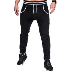 SPODNIE MĘSKIE DRESOWE P428 - CZARNE. Czarne spodnie dresowe męskie Ombre Clothing, z bawełny. Za 39,00 zł.