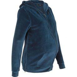 Bluza ciążowa z dzianiny welurowej nicki bonprix ciemnoniebieski. Niebieskie bluzy ciążowe marki bonprix, z materiału, z dekoltem w serek. Za 124,99 zł.
