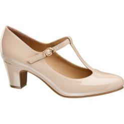 Czółenka damskie Graceland nude. Szare buty ślubne damskie marki Graceland, z materiału, na obcasie. Za 89,90 zł.