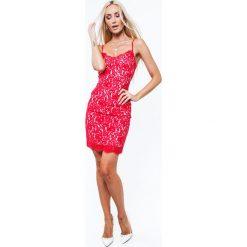 Sukienka na ramiączkach w bieliźnianym stylu czerwona ZZ283. Czerwone sukienki na komunię Fasardi, l, na ramiączkach. Za 101,00 zł.