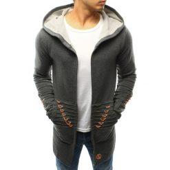 Bluzy męskie: Bluza męska rozpinana z kapturem antracytowa (bx3240)