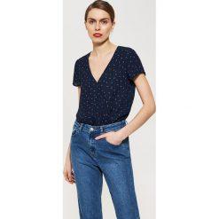 Bluzki asymetryczne: Kopertowa bluzka - Granatowy