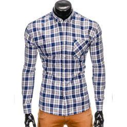KOSZULA MĘSKA W KRATĘ Z DŁUGIM RĘKAWEM K393 - NIEBIESKA/SZARA. Niebieskie koszule męskie na spinki Ombre Clothing, m, z długim rękawem. Za 59,00 zł.
