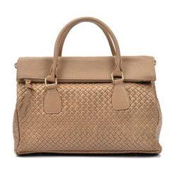 Torebki i plecaki damskie: Skórzana torebka w kolorze fango – (S)29 x (W)38 x (G)14 cm