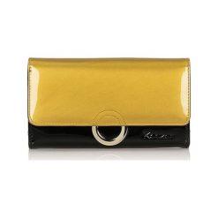 Portfele damskie: Skórzany portfel w kolorze złoto-czarnym - (S)15 x (W)8,5 cm