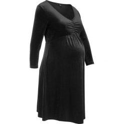 Sukienka aksamitna ciążowa, rękawy 3/4 bonprix czarny. Czarne sukienki ciążowe marki bonprix, z dżerseju, moda ciążowa. Za 129,99 zł.