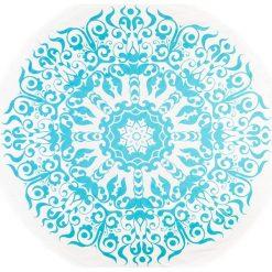 Kąpielówki męskie: Chusta hammam w kolorze błękitno-białym – Ø 150 cm