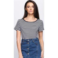 Granatowy T-shirt Molly's Theme. Niebieskie bluzki damskie Born2be, l. Za 19,99 zł.