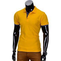 KOSZULKA MĘSKA POLO BEZ NADRUKU S758 - ŻÓŁTA. Żółte koszulki polo marki Ombre Clothing, m, z nadrukiem. Za 29,00 zł.