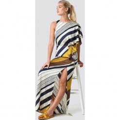 MANGO Sukienka Mandi - Multicolor,Yellow. Szare długie sukienki marki Mango, na co dzień, l, z tkaniny, casualowe, z dekoltem halter, na ramiączkach, rozkloszowane. Za 323,95 zł.