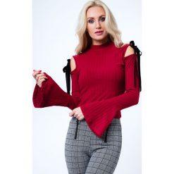 Bluzka z wiązaniami na ramionach bordowa MP16144. Czerwone bluzki z odkrytymi ramionami Fasardi, xl. Za 48,30 zł.