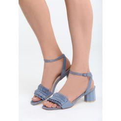 Niebieskie Sandały That's Crazy. Niebieskie sandały damskie na słupku marki Born2be, z materiału, na wysokim obcasie. Za 69,99 zł.