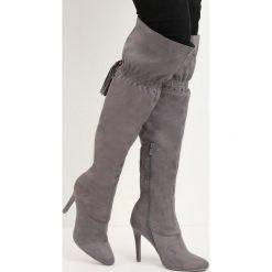 Szare Kozaki Starvation. Szare buty zimowe damskie marki Born2be, na wysokim obcasie, na szpilce. Za 99,99 zł.