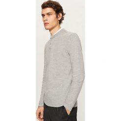 T-shirty męskie: Gładki t-shirt z długim rękawem – Jasny szar