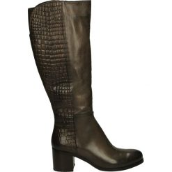 Kozaki - 314-8060SM FA. Brązowe buty zimowe damskie marki Kazar, ze skóry, przed kolano, na wysokim obcasie. Za 329,00 zł.