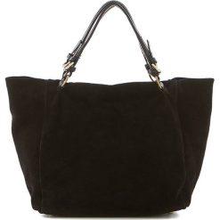 Shopper bag damskie: Skórzana torebka w kolorze czarnym – 42 x 20 x 40 cm