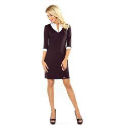Czarna Sukienka z Białym Kołnierzykiem i Mankietami. Czarne sukienki na komunię marki bonprix, do pracy, w paski, biznesowe, moda ciążowa. Za 159,90 zł.