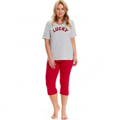 Piżama w kolorze biało-czarno-czerwonym - t-shirt, spodnie. Białe piżamy damskie Doctor Nap, xl, w paski. W wyprzedaży za 84,95 zł.