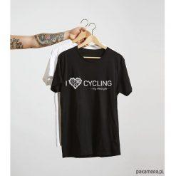 Koszulka T-SHIRT. I love cycling - my lifestyle. Szare t-shirty męskie z nadrukiem Pakamera, m. Za 85,00 zł.