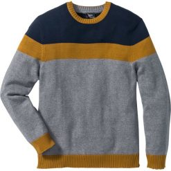 Sweter Regular Fit bonprix szaro-koniakowo-niebieski. Szare swetry klasyczne męskie marki bonprix, l, w paski. Za 89,99 zł.