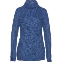 Sweter z warkoczem bonprix jasny indygo. Niebieskie swetry klasyczne damskie marki bonprix, ze stójką. Za 99,99 zł.