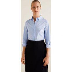 Mango - Koszula Santi. Szare koszule damskie Mango, l, z bawełny, klasyczne, z klasycznym kołnierzykiem, z długim rękawem. Za 89,90 zł.