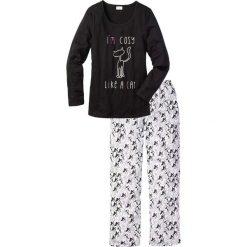 Piżama bonprix czarno-biały z nadrukiem. Białe piżamy damskie bonprix, z nadrukiem. Za 69,99 zł.