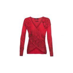 Swetry Desigual  LISBOA. Czerwone swetry klasyczne damskie marki Desigual, l. Za 309,00 zł.